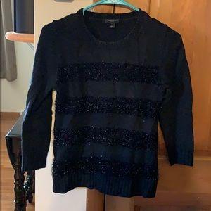 Ann Taylor never worn 3/4 black sparkle sweater XS